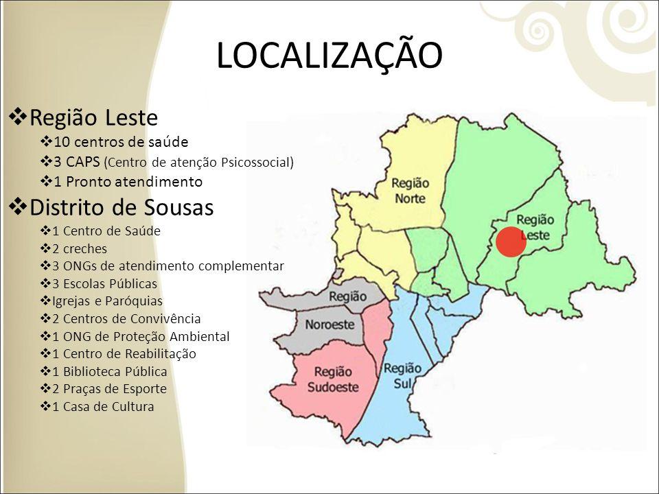 LOCALIZAÇÃO Região Leste Distrito de Sousas 10 centros de saúde