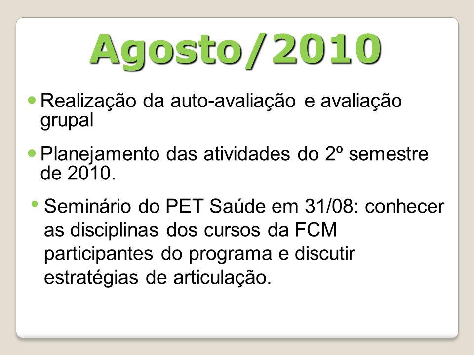 Agosto/2010 Realização da auto-avaliação e avaliação grupal