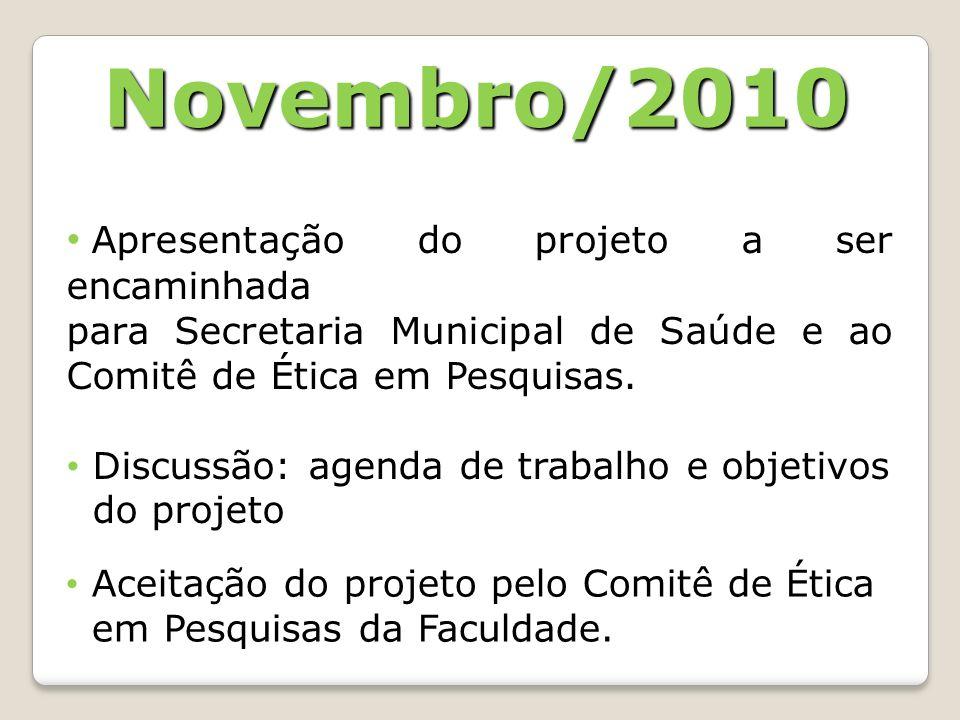 Novembro/2010 Apresentação do projeto a ser encaminhada