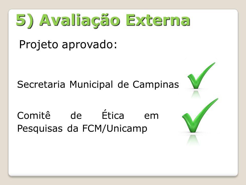 5) Avaliação Externa Projeto aprovado: