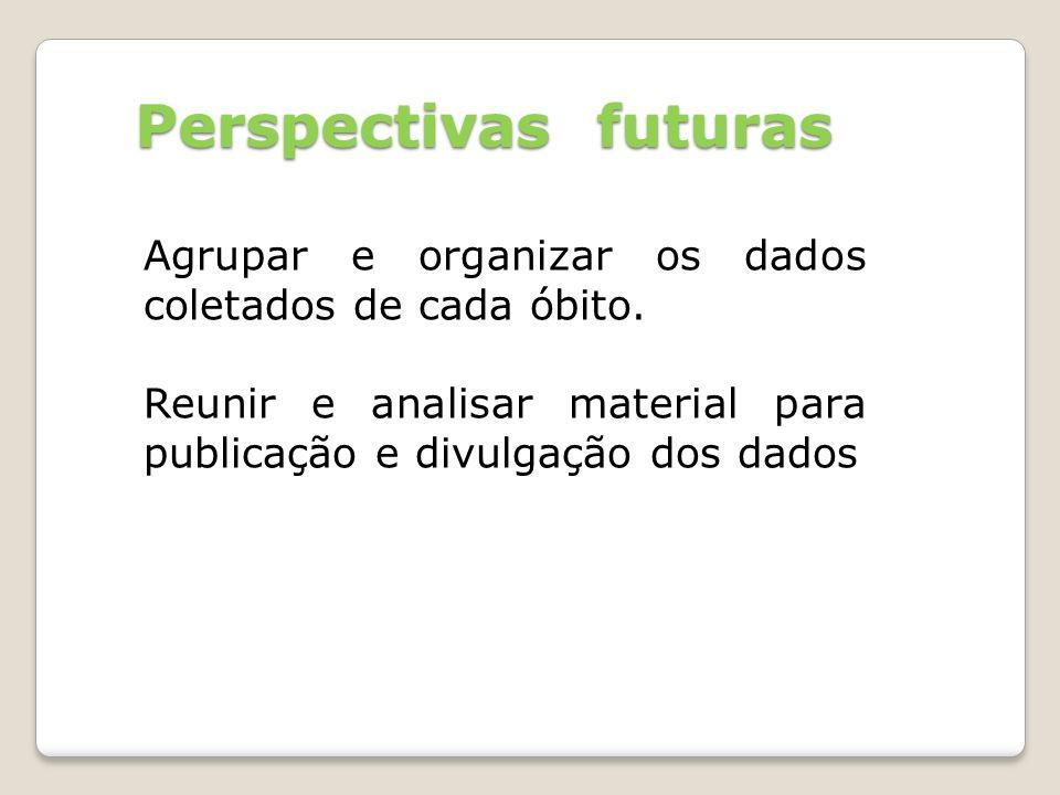 Perspectivas futuras Agrupar e organizar os dados coletados de cada óbito.