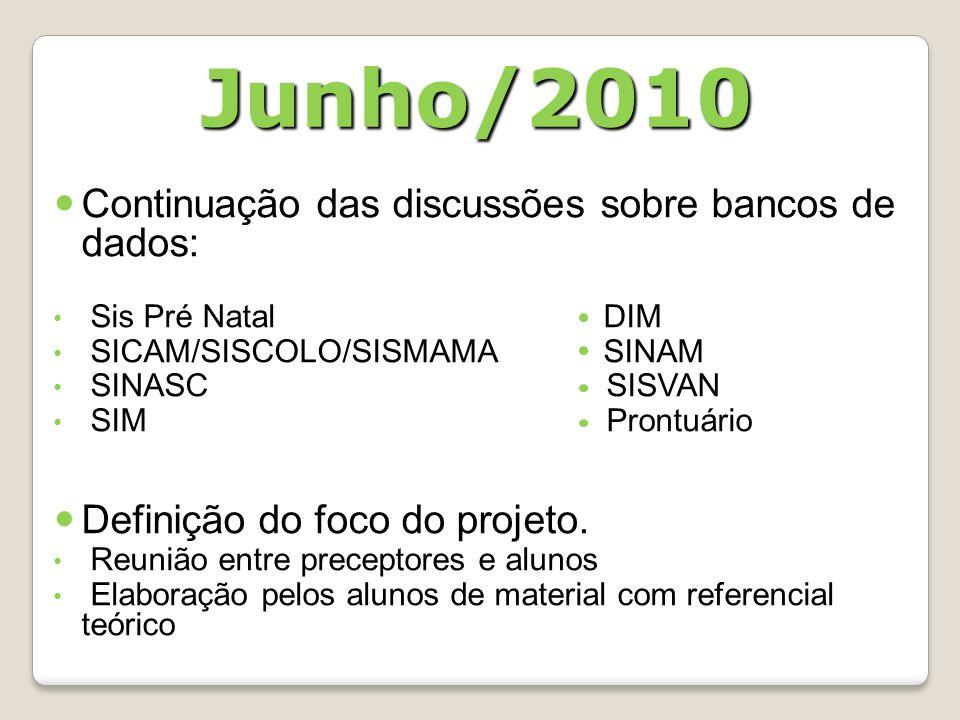 Junho/2010 Continuação das discussões sobre bancos de dados: