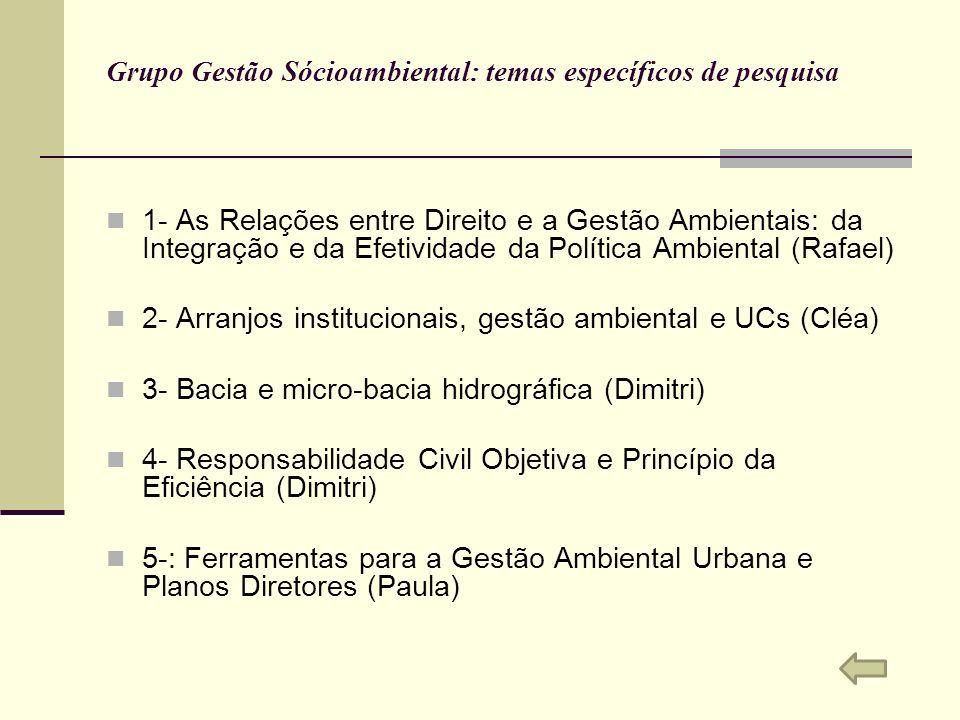 Grupo Gestão Sócioambiental: temas específicos de pesquisa