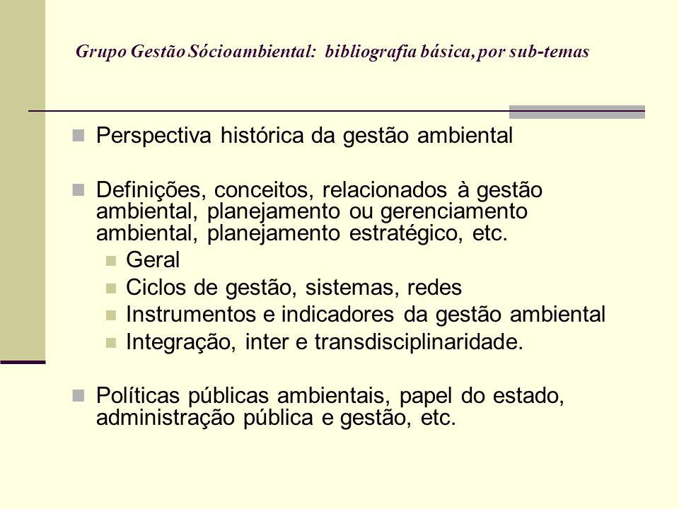 Grupo Gestão Sócioambiental: bibliografia básica, por sub-temas
