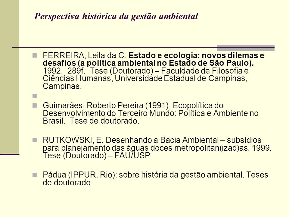 Perspectiva histórica da gestão ambiental