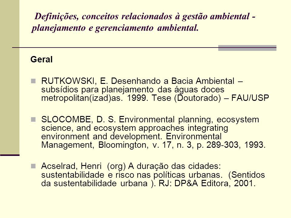 Definições, conceitos relacionados à gestão ambiental - planejamento e gerenciamento ambiental.