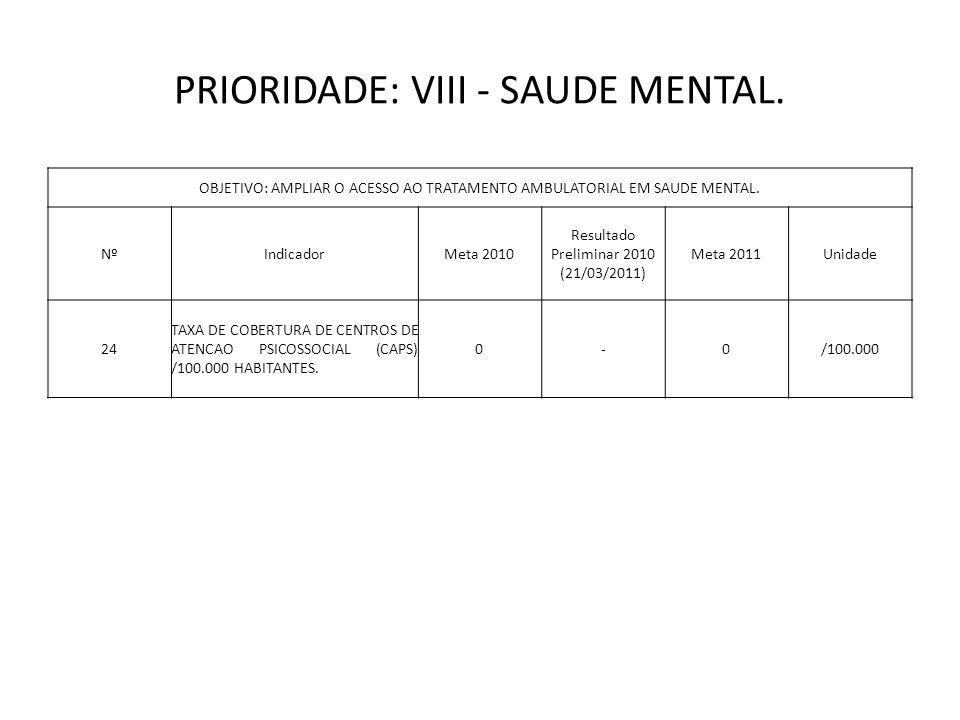 PRIORIDADE: VIII - SAUDE MENTAL.