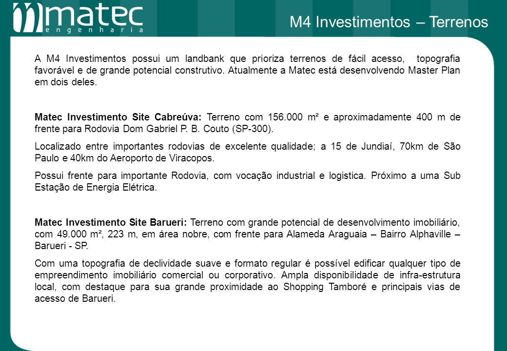 M4 Investimentos – Terrenos