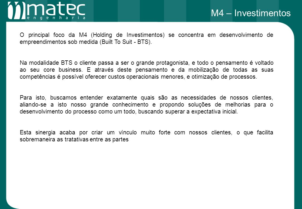 M4 – Investimentos