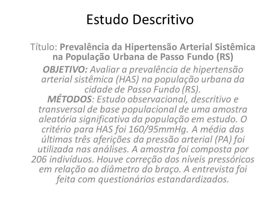 Estudo Descritivo Título: Prevalência da Hipertensão Arterial Sistêmica na População Urbana de Passo Fundo (RS)