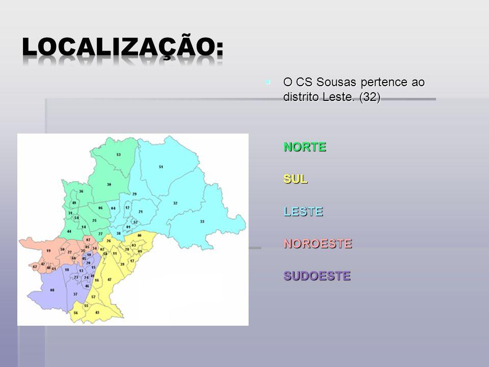 Localização: O CS Sousas pertence ao distrito Leste. (32) NORTE SUL