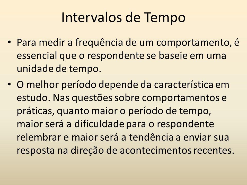 Intervalos de TempoPara medir a frequência de um comportamento, é essencial que o respondente se baseie em uma unidade de tempo.