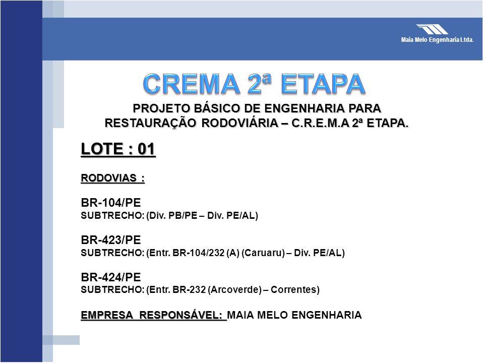 CREMA 2ª ETAPA LOTE : 01 PROJETO BÁSICO DE ENGENHARIA PARA