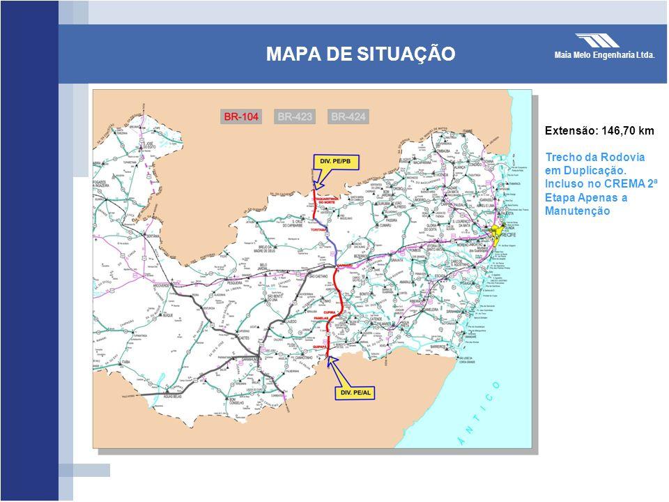 MAPA DE SITUAÇÃO Extensão: 146,70 km Trecho da Rodovia em Duplicação.