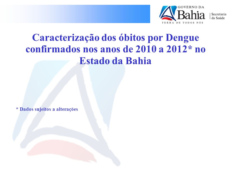 Caracterização dos óbitos por Dengue confirmados nos anos de 2010 a 2012* no Estado da Bahia
