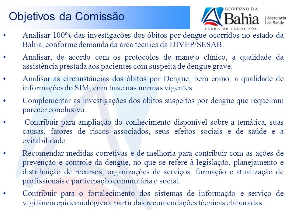 Objetivos da Comissão