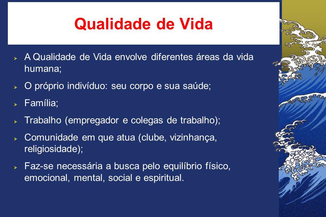 Qualidade de Vida A Qualidade de Vida envolve diferentes áreas da vida humana; O próprio indivíduo: seu corpo e sua saúde;