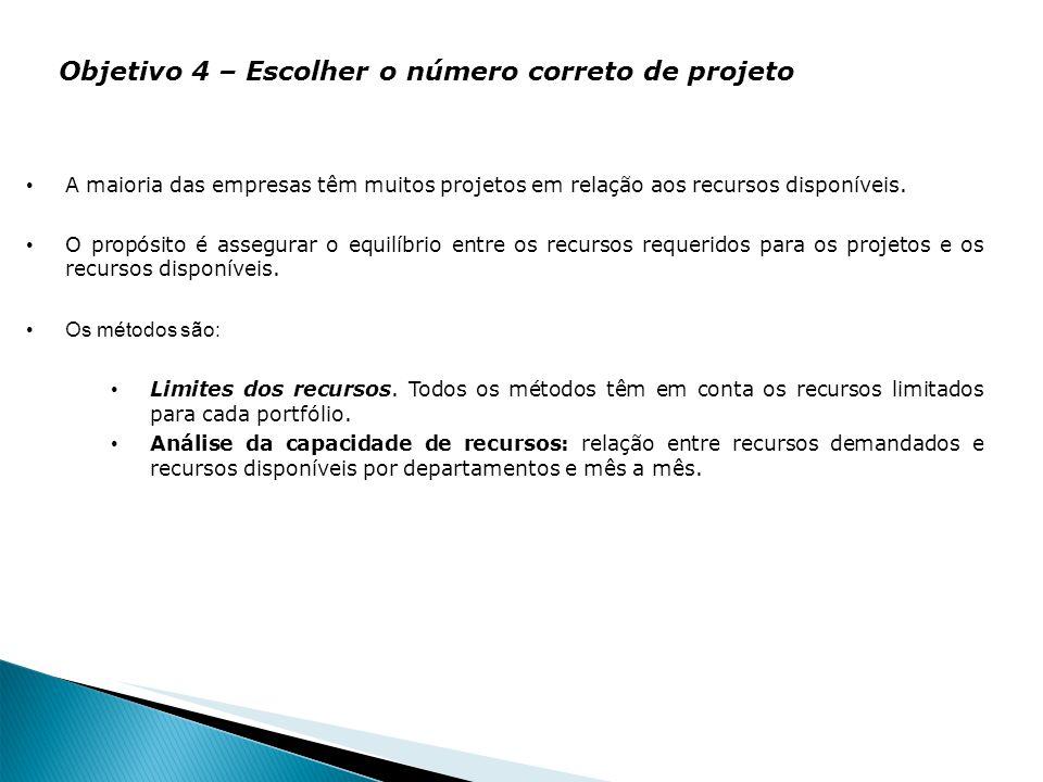 Objetivo 4 – Escolher o número correto de projeto
