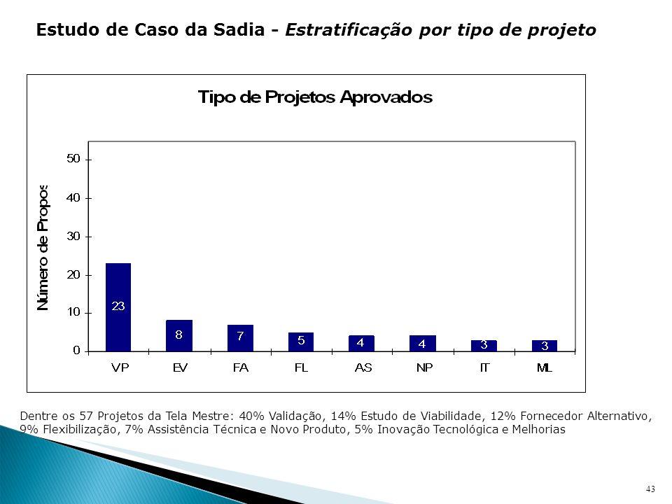 Estudo de Caso da Sadia - Estratificação por tipo de projeto