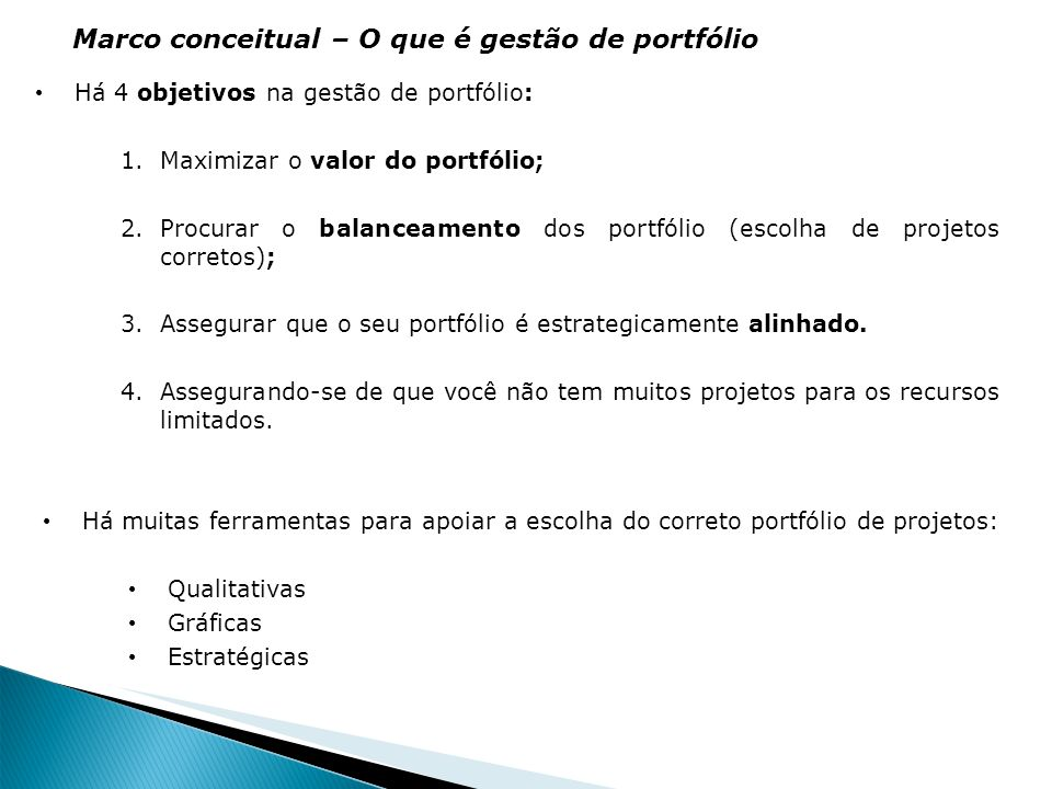 Marco conceitual – O que é gestão de portfólio
