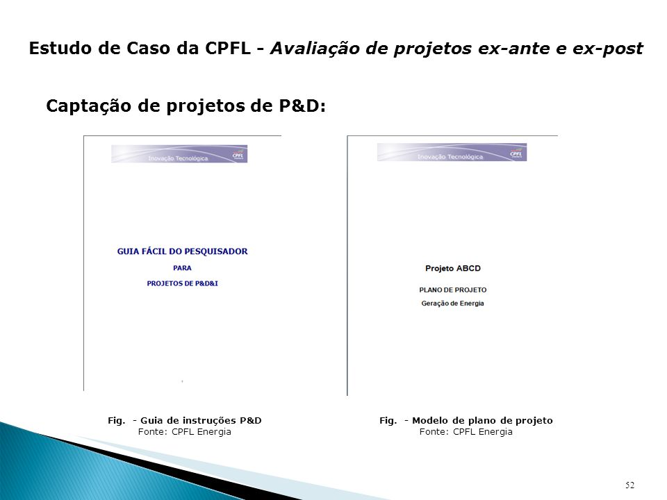 Fig. - Guia de instruções P&D Fig. - Modelo de plano de projeto