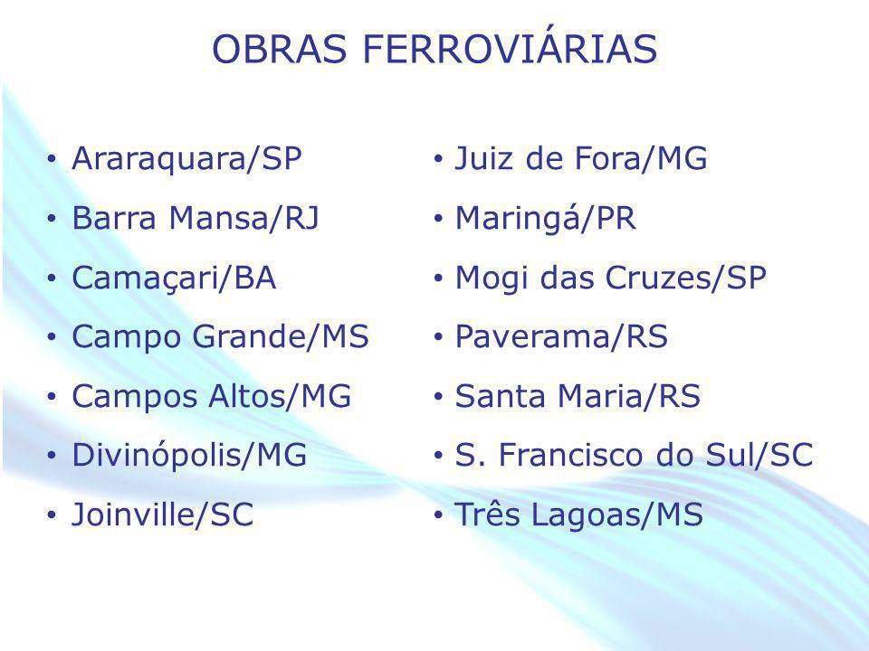 OBRAS FERROVIÁRIAS Araraquara/SP Barra Mansa/RJ Camaçari/BA
