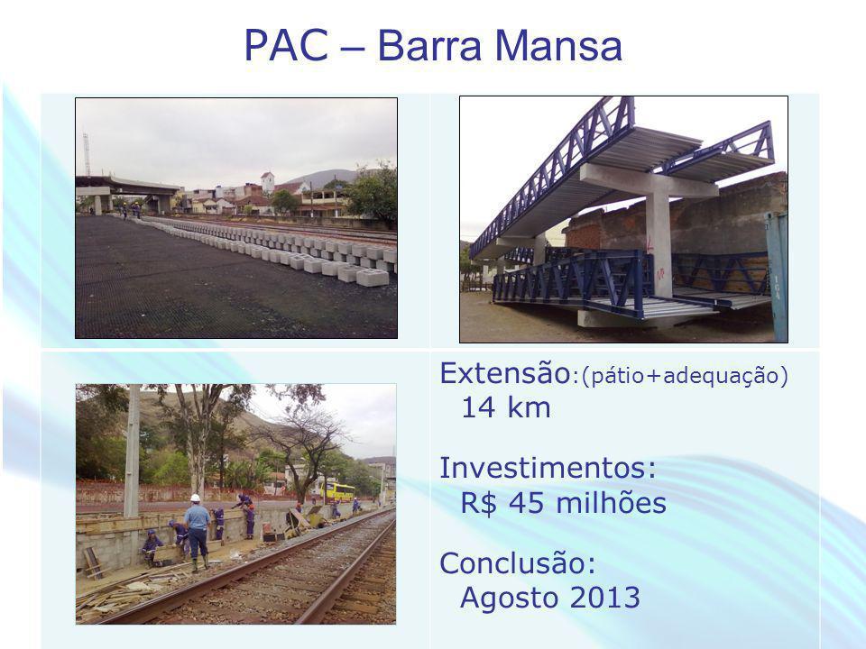 PAC – Barra Mansa Extensão:(pátio+adequação) 14 km Investimentos: R$ 45 milhões.