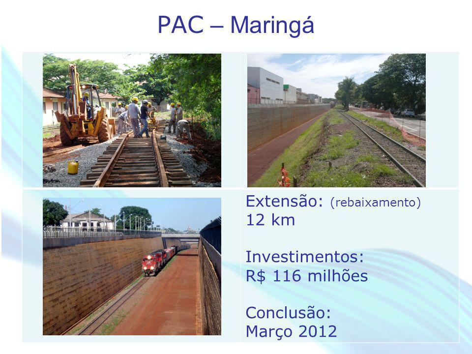 PAC – Maringá Extensão: (rebaixamento) 12 km