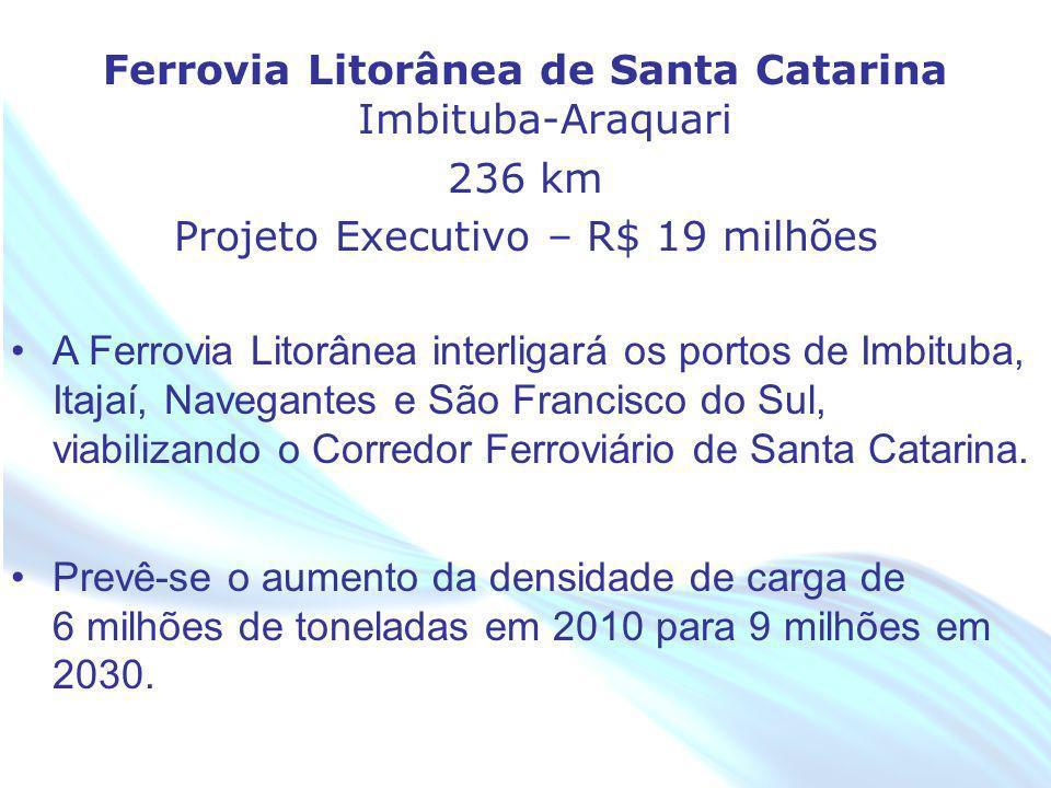 Ferrovia Litorânea de Santa Catarina Imbituba-Araquari 236 km Projeto Executivo – R$ 19 milhões