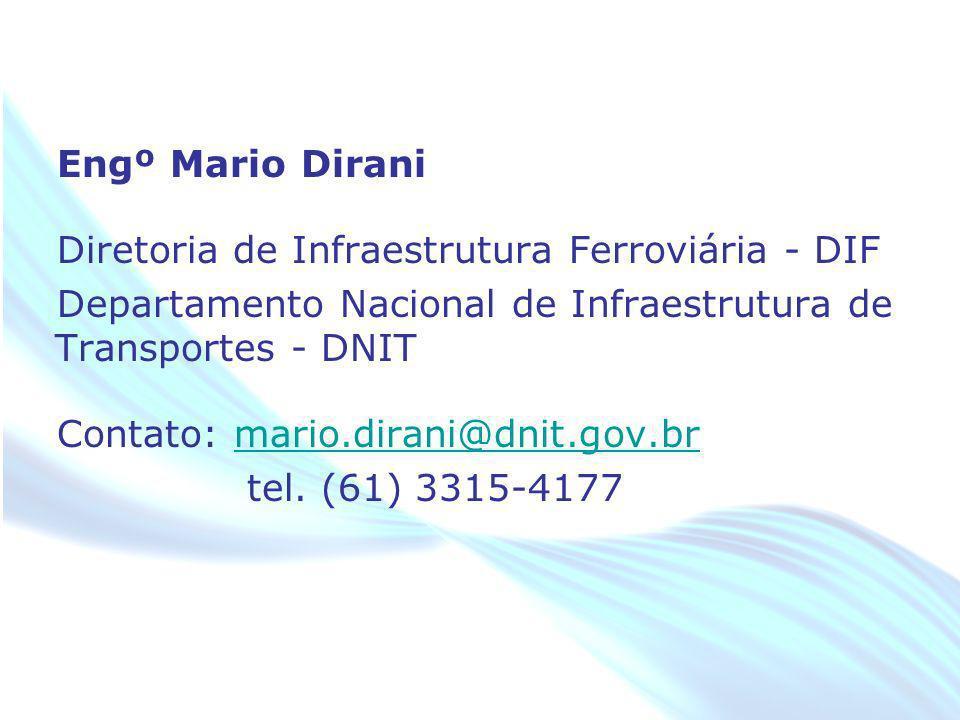 Engº Mario Dirani Diretoria de Infraestrutura Ferroviária - DIF Departamento Nacional de Infraestrutura de Transportes - DNIT Contato: mario.dirani@dnit.gov.br tel.
