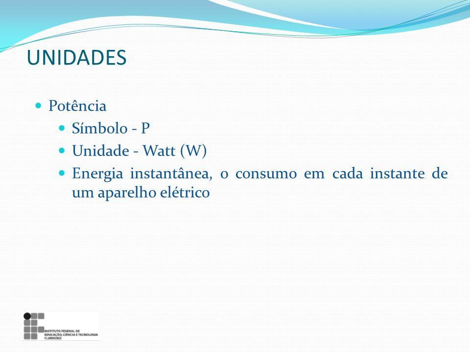 UNIDADES Potência Símbolo - P Unidade - Watt (W)