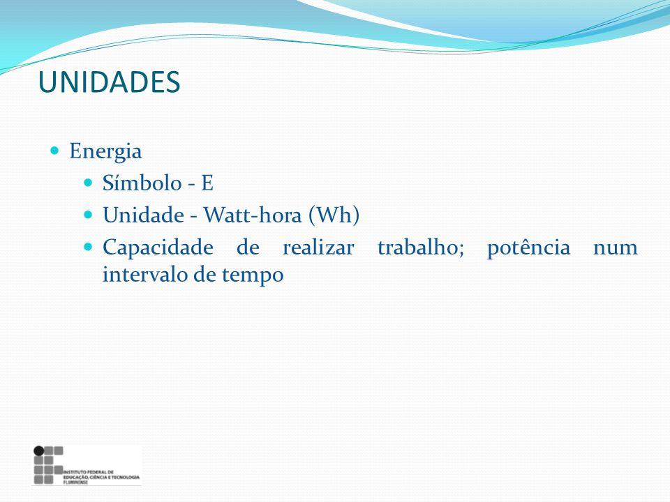 UNIDADES Energia Símbolo - E Unidade - Watt-hora (Wh)
