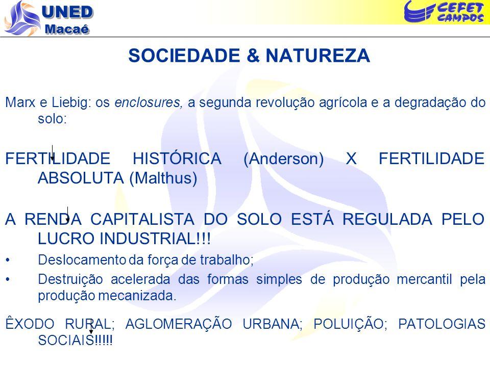 SOCIEDADE & NATUREZA Marx e Liebig: os enclosures, a segunda revolução agrícola e a degradação do solo: