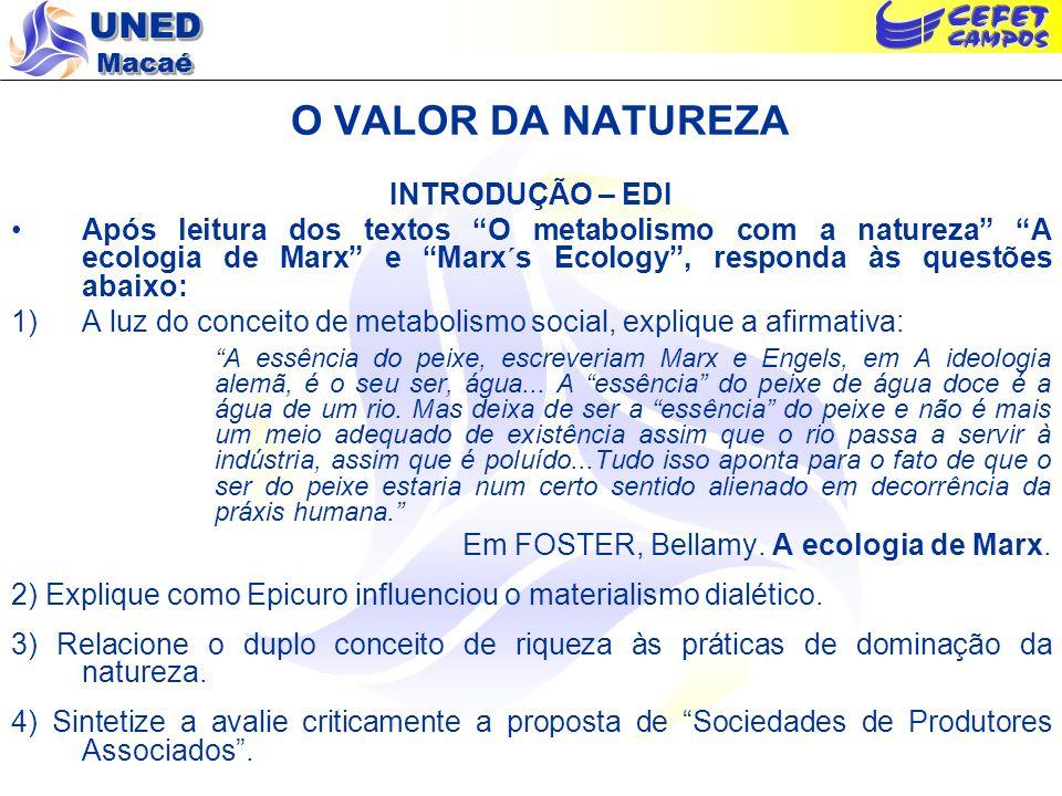 O VALOR DA NATUREZA INTRODUÇÃO – EDI