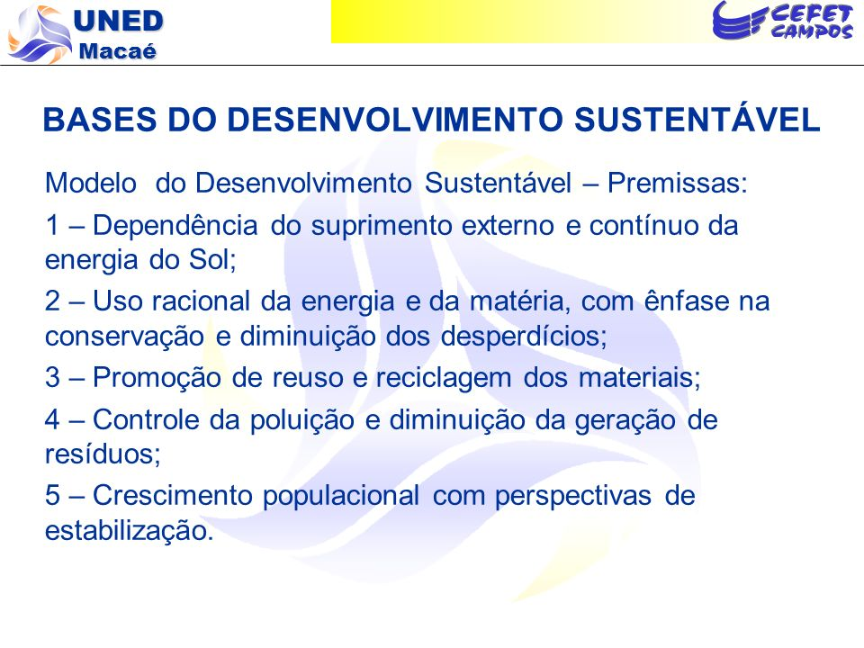 BASES DO DESENVOLVIMENTO SUSTENTÁVEL