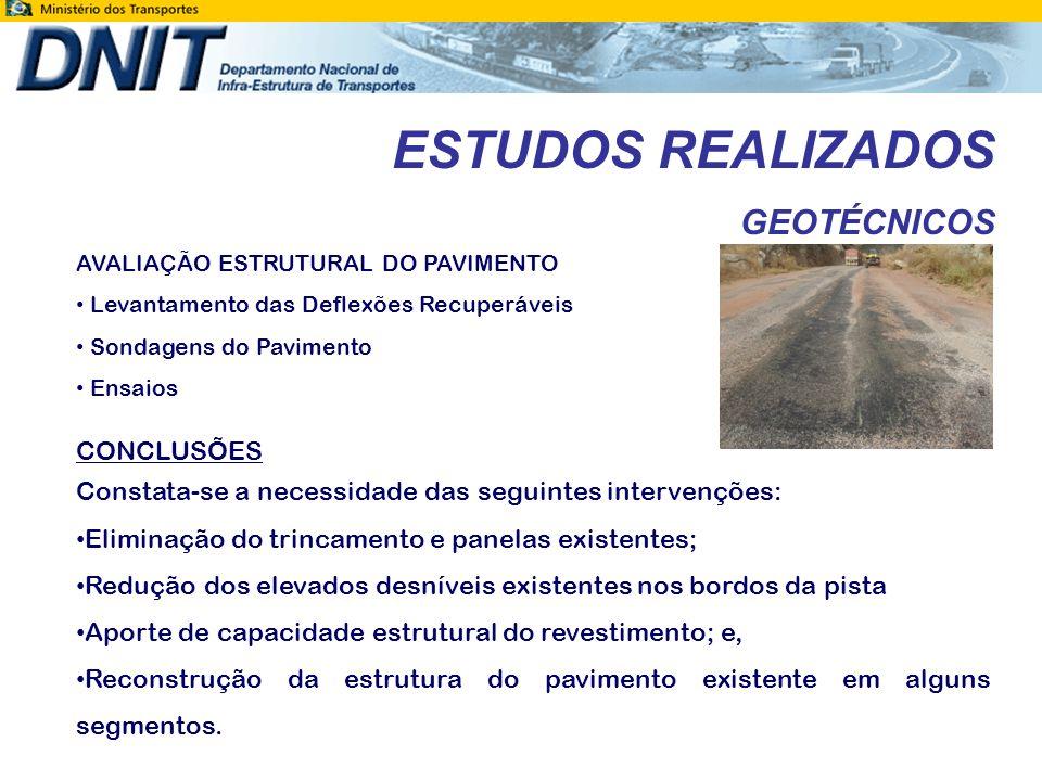 ESTUDOS REALIZADOS GEOTÉCNICOS CONCLUSÕES