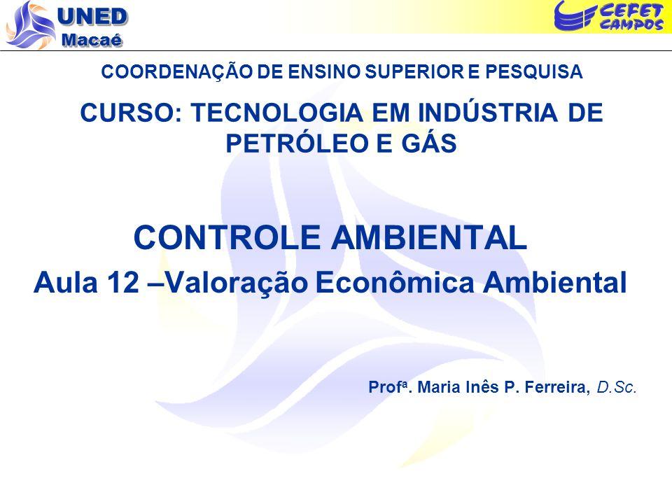 Aula 12 –Valoração Econômica Ambiental