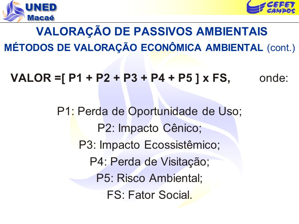 VALORAÇÃO DE PASSIVOS AMBIENTAIS