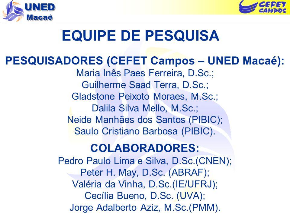PESQUISADORES (CEFET Campos – UNED Macaé):