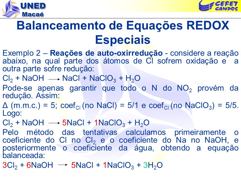 Balanceamento de Equações REDOX Especiais