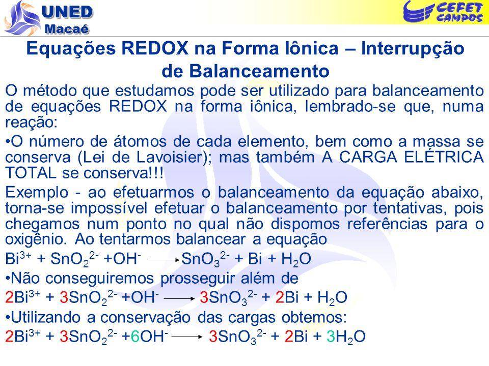Equações REDOX na Forma Iônica – Interrupção de Balanceamento