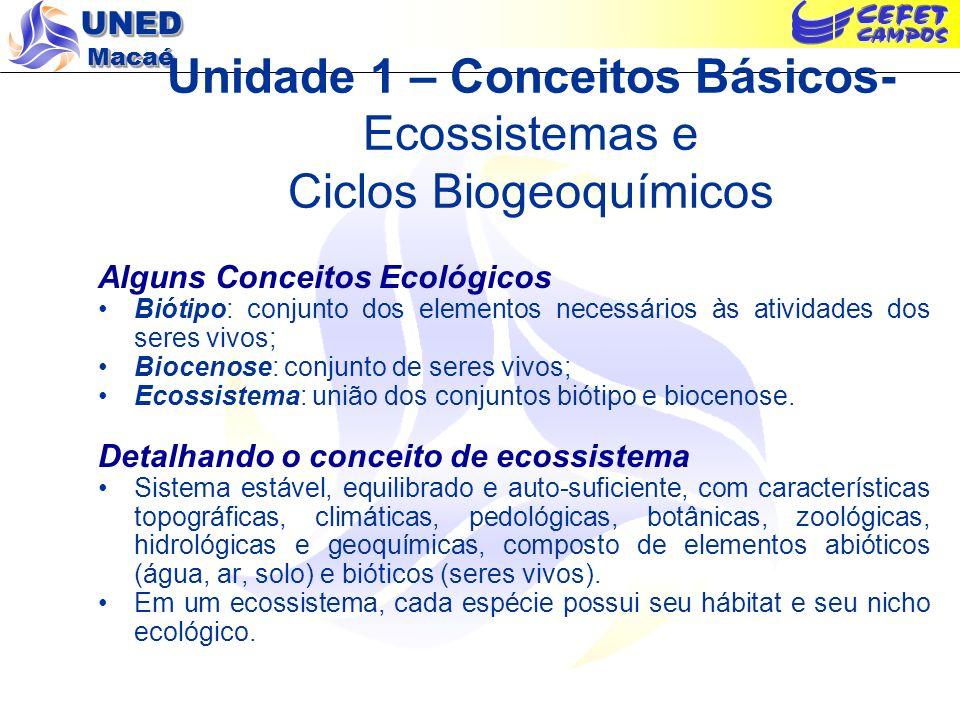 Unidade 1 – Conceitos Básicos- Ecossistemas e Ciclos Biogeoquímicos