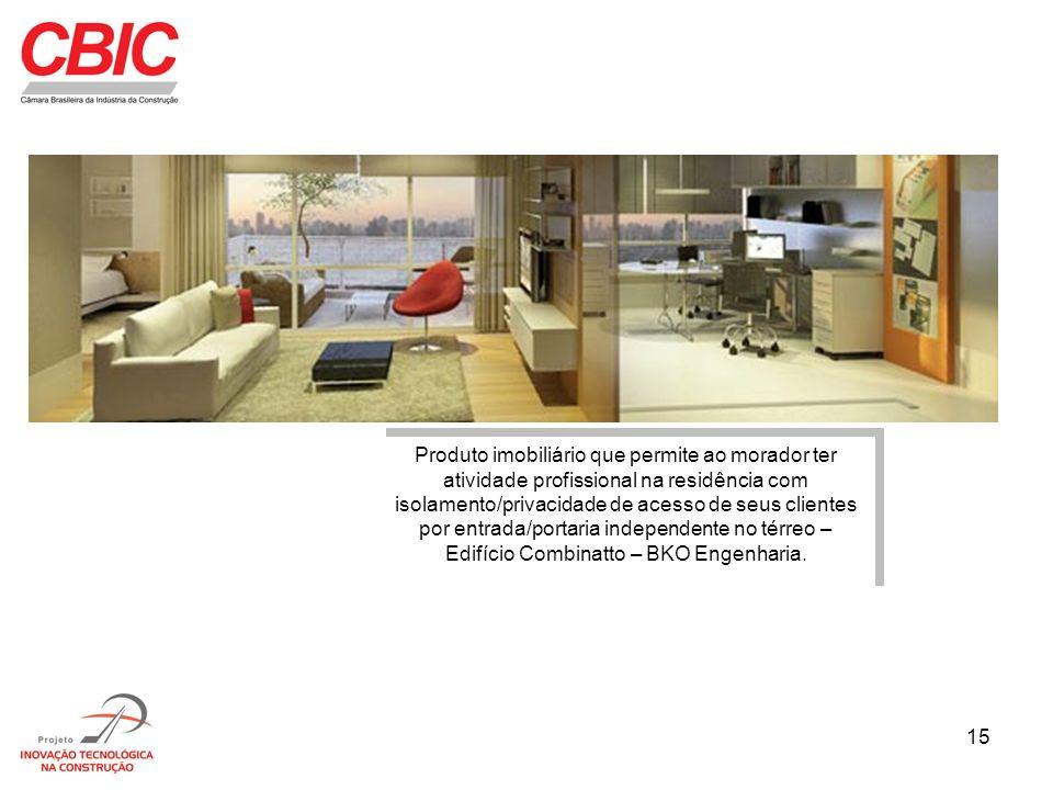 Produto imobiliário que permite ao morador ter atividade profissional na residência com isolamento/privacidade de acesso de seus clientes por entrada/portaria independente no térreo – Edifício Combinatto – BKO Engenharia.