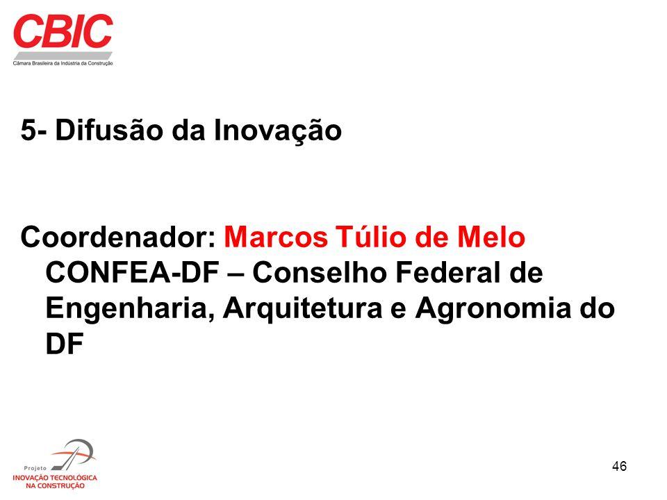 5- Difusão da InovaçãoCoordenador: Marcos Túlio de Melo CONFEA-DF – Conselho Federal de Engenharia, Arquitetura e Agronomia do DF.