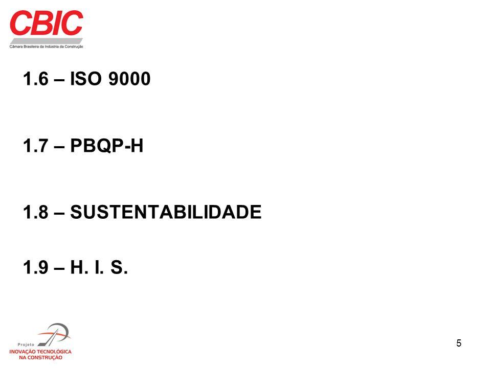 1.6 – ISO 9000 1.7 – PBQP-H 1.8 – SUSTENTABILIDADE 1.9 – H. I. S.
