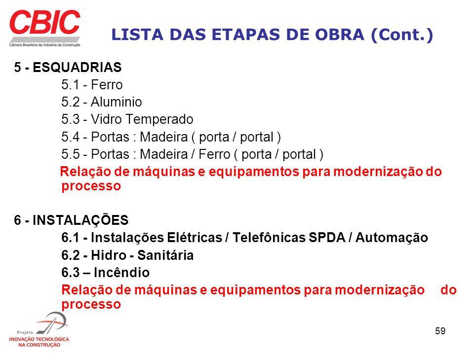 LISTA DAS ETAPAS DE OBRA (Cont.)