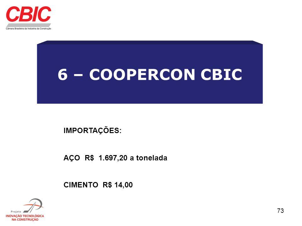 6 – COOPERCON CBIC IMPORTAÇÕES: AÇO R$ 1.697,20 a tonelada