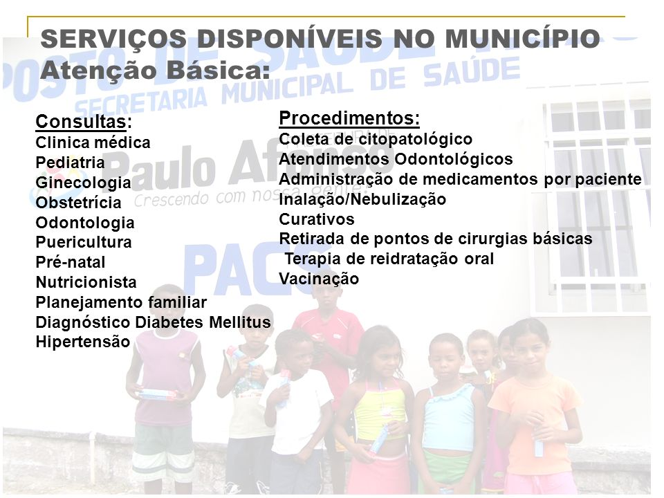 SERVIÇOS DISPONÍVEIS NO MUNICÍPIO Atenção Básica: