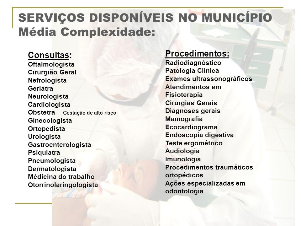 SERVIÇOS DISPONÍVEIS NO MUNICÍPIO Média Complexidade: