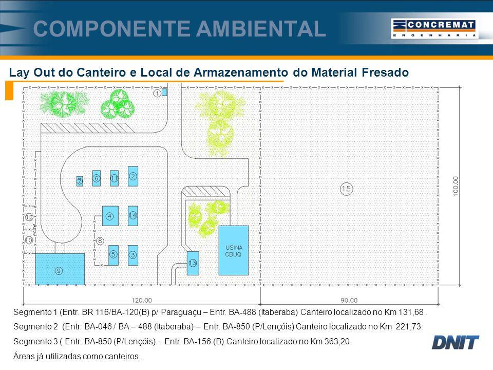 Componente ambiental Lay Out do Canteiro e Local de Armazenamento do Material Fresado.